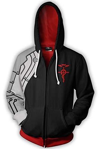 MUCLOTH Edward Elric Full-Zip Cosplay Costume Hoodies Sweatshirt Jacket Unisex (Black, s)