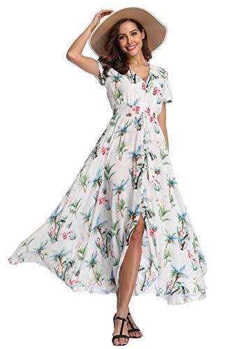 VintageClothing Women's Floral Print Maxi Dresses Boho Button Up Split Beach Party Dress, White_Coco&Flamingo Print, 2XL