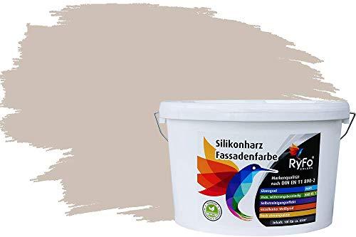 RyFo Colors Silikonharz Fassadenfarbe Lotuseffekt Trend Kaschmirgrau 10l - bunte Fassadenfarbe, weitere Grau Farbtöne und Größen erhältlich, Deckkraft Klasse 1