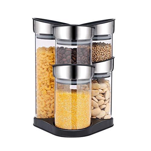 Tanque de almacenamiento Cocina for guardar objetos de cristal Botes Conjunto de 5, apilable Contenedor de grano con las tapas, for el té, café, azúcar, pasta, fideos, harina, galletas y cereales Cont