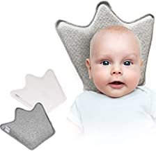 Baby Head Shaping Pillow - Helps Prevent Flat Head Syndrome. Pillow with 2 Machine Wash Cotton Covers. Premium Memory Foam Baby Pillow for Newborn Infant. Baby Head Support Pillow by IntiMom