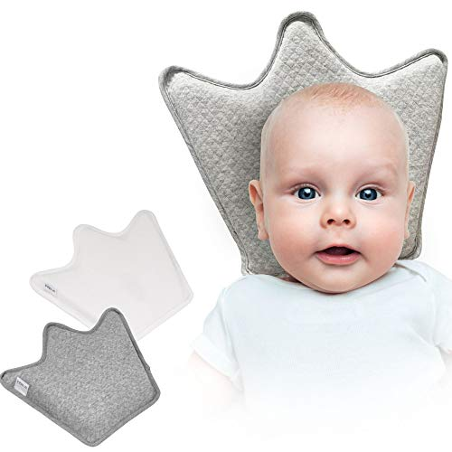 Crown Baby Pillow for Head Shaping by Intimom- Premium Memory Foam Helps Avoid Flat Head Syndrome. Pillow with White & Grey Machine Wash Covers. Ergonomic Design for Back Sleep & Head and Support.