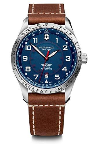 Victorinox Hombre Airboss Mechanical - Reloj de Acero Inoxidable/Cuero automático Hecho en Suiza 241887