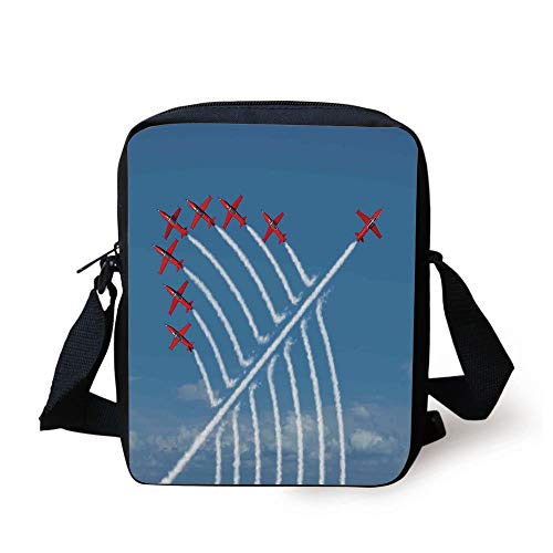 Airplane Decor,Acrobat Little Show Planes in Clear Sunny Sky with Smoke Behind Image,Red and Blue Print Kids Crossbody Messenger Bag Purse