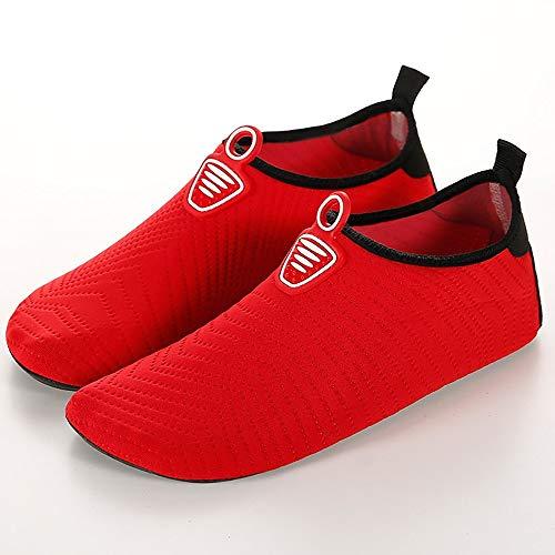 EVFIT Zapatos de Verano Soft Buceo Inferior y Mujeres de los Hombres al Aire Libre Wading River pelada Piscina Cinta de Correr Zapatos de Snorkel Calzado (Color : Red, Size : 38-39)
