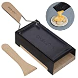 cheese raclette w foldable handle- candlelight cheese melter pan w spatula and candles- melts in