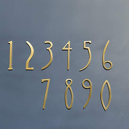 Zxxin-house number, DIY 0-9# Brass House Number, Modern Plaque Number Hotel Door Address Digits Plate Sign, 50mm or 70mm Height, Strong and durable (Color : Number 4, Size : Height 5cm)