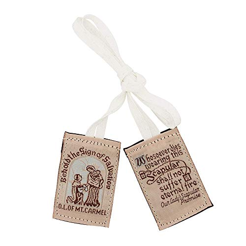 VILLAGE GIFT IMPORTERS Genuine Homemade Scapulars   100% Real Wool   6 Styles   Made in The USA   Durable and Beautiful Quality   Christian Jewelry (Slim Brown - No Medals (White Cords))