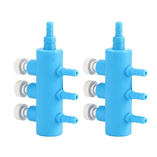 AMONIDA einfacher Holzspalter für Fische, Sauerstoffschlauchverteiler, geeignet für Einloch-Luftpumpe Steuerschalter(3 Heads 2 Sold in one)