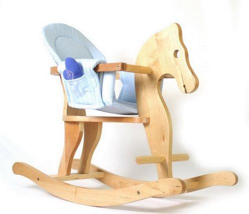 Small Foot Company 4136 - Cavallo a Dondolo con Rivestimento Sedile, Colori Azzurro e Rosa