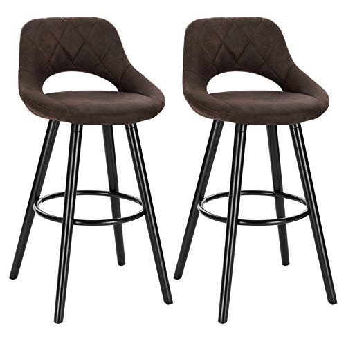 WOLTU® Barhocker BH291dbr-2 2er Set Barstuhl Bistrohocker Tresenhocker mit Lehne und Fußstütze Design Stuhl Holz Stoffbezug Dunkelbraun