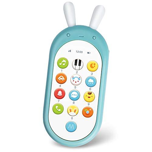 Richgv Juguetes Teléfono Bilingüe, Mando a Distancia Conejo, Juguete Electrónico Bebé,Teléfono Infantil con L