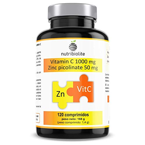 Vitamin C 1000 mg + Zinkpicolinat (Zink-Chelat) 50 mg pro Tablette Hochdosiert - 120 Tabletten Vegan fúr 4 Monate - 1 Tablette pro Tag
