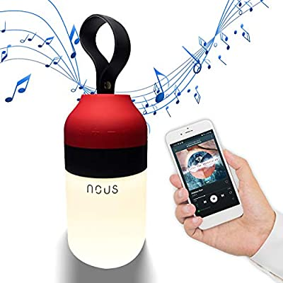 Nous H3 Wireless portable mini Bluetooth Speaker with Lights. Battery operated, Waterproof, Rechargeable, Wearable, Cordless, Outdoor, Travel lantern. Led lamp for shower, hot tub, bedroom, camping by Nous