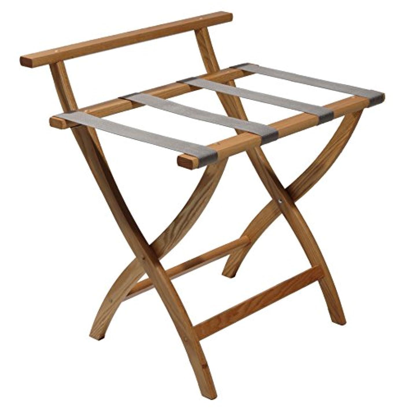 Wooden Mallet Grey Straps, Light Oak WallSaver Luggage Rack,