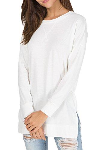 Womens Fall Long Sleeve Sweatshirt Side Split Loose Casual Tunic Tops White S