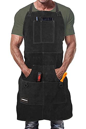 DIMWELD Mandil de Soldador Premium de Cuero Protector para Hombre. Delantal de Herrero Termico Ignifugo para Soldadura en Taller con 6 Bolsillos para Herramientas