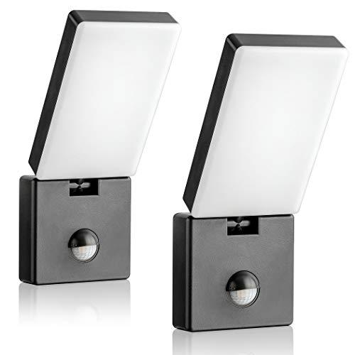 SEBSON Juego de 2 lámparas LED para exteriores con detector de movimiento, color antracita, 15 W, 900 lm, blanco frío, 5800 K, orientable, IP65, lámpara de pared exterior con sensor de 9 m / 140°