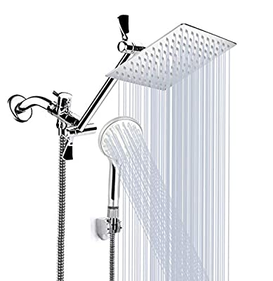 Shower Head, 8'' High Pressure Rainfall Shower Head/Handheld Shower Combo with 11'' Extension Arm, 9 Settings Adjustable Anti-leak Shower Head with Holder, Height/Angle Adjustable, 1.5M Hose, Chrome
