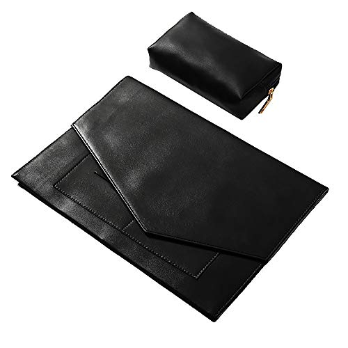 I3C Black Canvas Laptop Sleeve Cover + Power Storage Bag Laptop PC Waterproof Bag Carrying Soft Notebook Case Cover for Personal Use (12 inch)