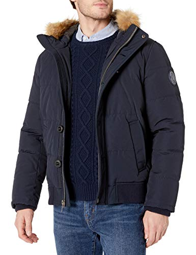 Tommy Hilfiger Men's Arctic Cloth Full Length Quilted Snorkel Jacket (Standard and Big & Tall), deep Navy, Large