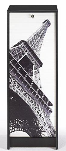 SIMMOB Classeur à Rideau Noir Hauteur 104 cm Tour Eiffel, Bois