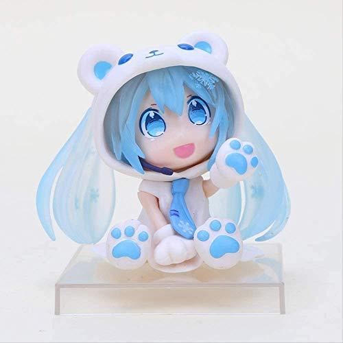 2 piezas 6 cm figura de Anime Kawaii rosa Q versión Hatsune Miku figura Sakura oso Hatsune Miku figura modelo juguete coleccionable