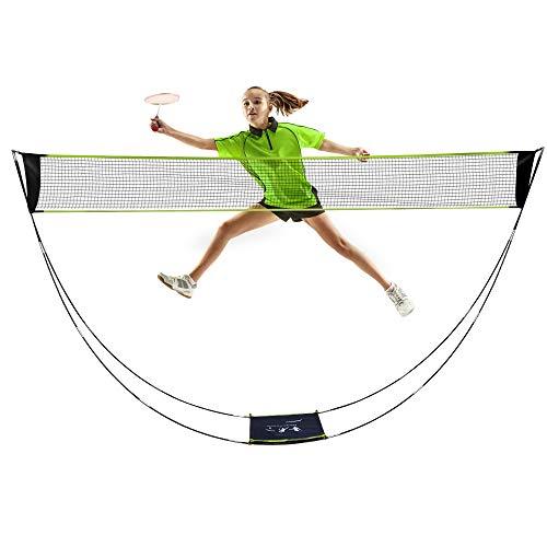 AmazeFan Tragbares Badmintonnetz Set mit Ständer & Tragetasche, Faltbares Volleyball Tennis Badminton Netz - Einfache Einrichtung für Strand/Innenhof, Outdoor, Keine Werkzeuge oder Pfähle Erforderlich