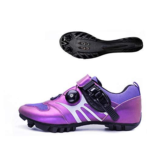 KUXUAN Zapatos De Ciclismo De Carretera para Hombres,MTB Zapatos De Ciclismo De Montaña Adultos Unisex,Purple-39EU