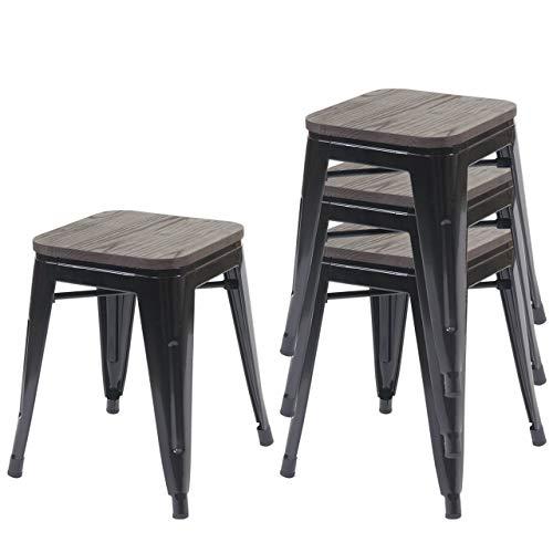 4X Hocker HWC-A73 inkl. Holz-Sitzfläche, Metallhocker Sitzhocker, Metall Industriedesign stapelbar - schwarz