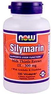 NOW Silymarin 2x300mg w/ Artichoke & Dandelion 50 Veg Capsules, 50 g