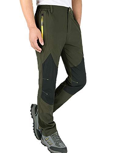 Hombre Mujer Impermeable Softshell Exterior Camping Senderismo Elasticidad Pantalones Verde del Ejército...