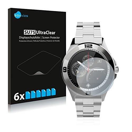 Savvies 6X Schutzfolie kompatibel mit Tiger Smartwatch London Displayschutz-Folie Ultra-transparent