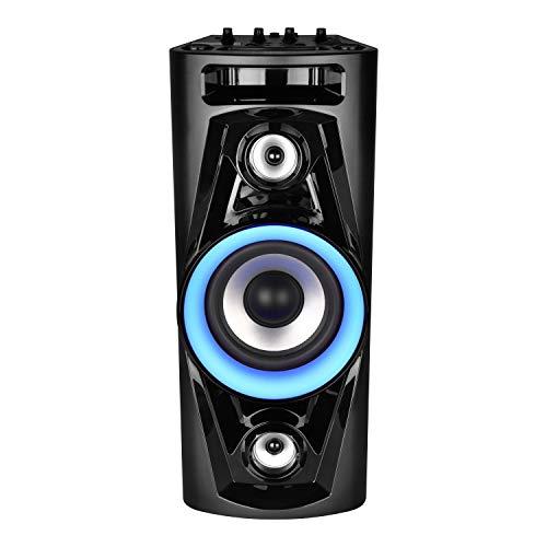 MEDION P67014 Party-Soundsystem (Partylautsprecher Karaoke, Bluetooth, Kompaktanlage, integrierter Akku, 180 Watt, Blaue LED, PLL UKW Radio, USB, AUX, Mikrofonanschluss, Gitarrenanschluss, Mikrofon)
