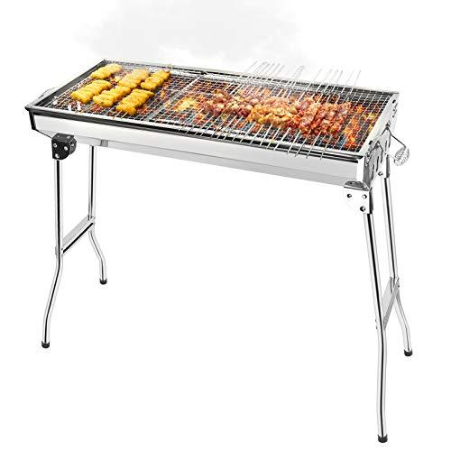 Parrilla de carbón de acero inoxidable, parrilla plegable portátil, parrilla de carbón profesional para barbacoa, picnic para acampar al aire libre (5-10 personas)