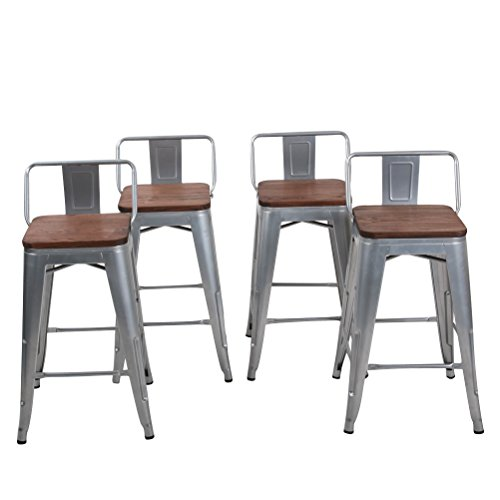 Bar Stools Set of 4 Counter Height Stools with Backrests Metal Barstools for Modern Kitchen (26 inch, Silver)