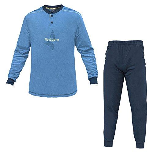 Navigare Pigiama Uomo Cotone Jersey 3 Colori Serafino Art.140744 (Bluette - 50 / L)