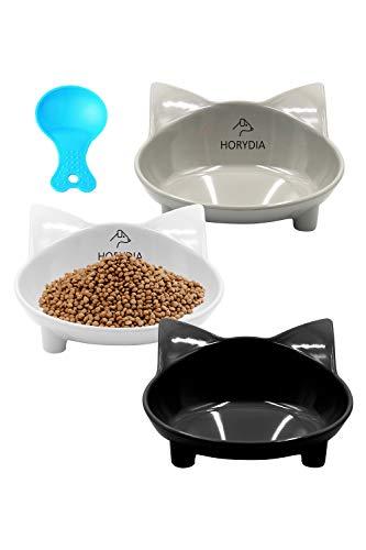 HORYDIA Ciotole per Gatti Antiscivolo Ciotola Gatto 3 Pcs Ciotola Gatti in Melamina Ceramica Vaschette per Cibo Secco Umido e Acqua Ciotola Gatto Inclinata Previene la Fatica da Baffo.