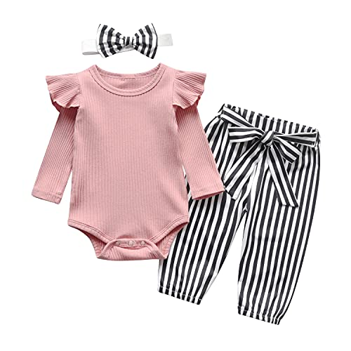 Newborn Infant Baby Girl Clothes Ruffle Long Sleeve Romper and Floral Pants with Headband 3PCS Set (3-6 Months) Pink