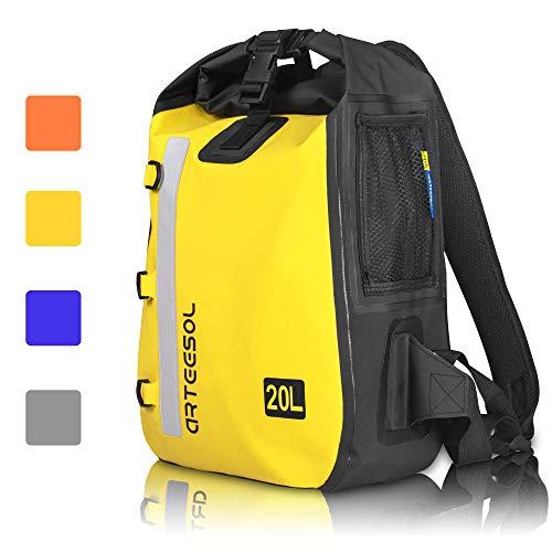 arteesol Zaino Impermeabile Grande Zaino 20L Leggero Dry Bag per Canottaggio, Campeggio, Escursionismo, Giallo, 20 l