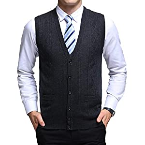 Yingqible ニットベスト Vネック チョッキメンズ 前開きベスト ケーブル編み オープンベスト トップス シンプル 暖かい カジュアル ビジネス メンズ ボーイズ セーター