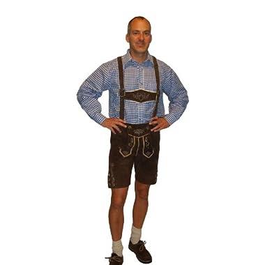 Lederhosen Costume Authentic Oktoberfest Lederhosen GEORG -40 - Dark Brown