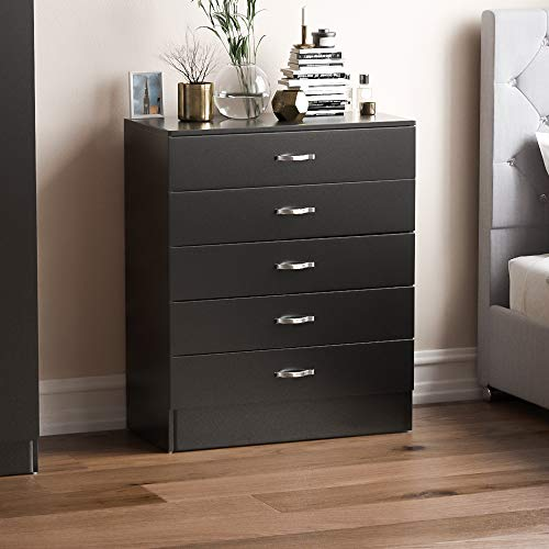 Vida Designs Black Chest of Drawers, 5 Drawer With Metal Handles and Runners, Unique Anti-Bowing Drawer Support, Riano Bedroom Furniture