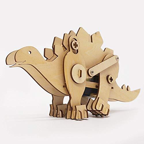 木製工作キット モーターで動く恐竜 ステゴサウルス / 手作り工作 色塗り お絵描き  9947