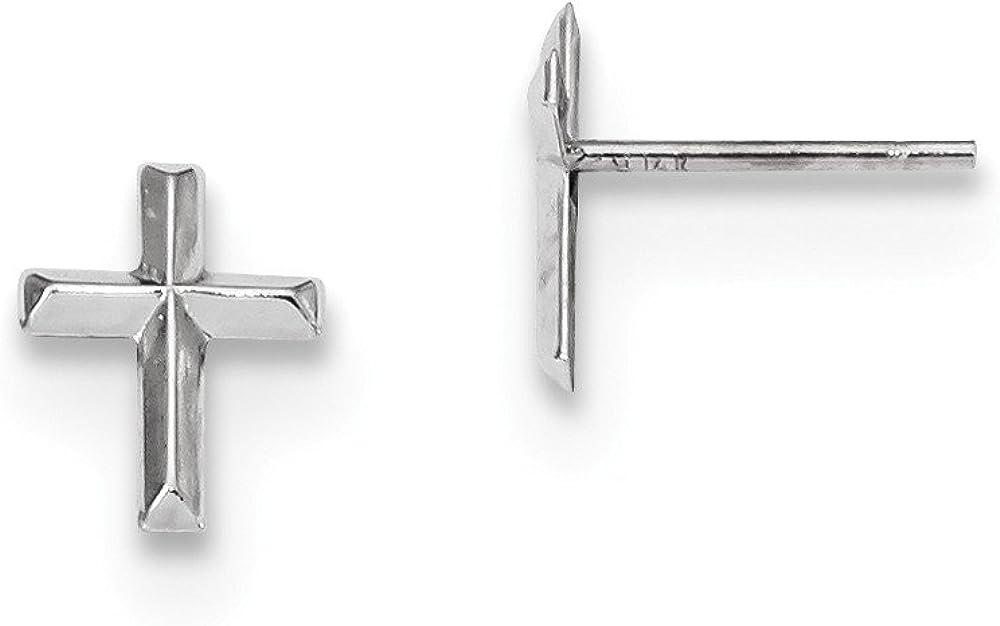 Solid 14k White Gold Cross Post Studs Earrings - 9mm x 6mm