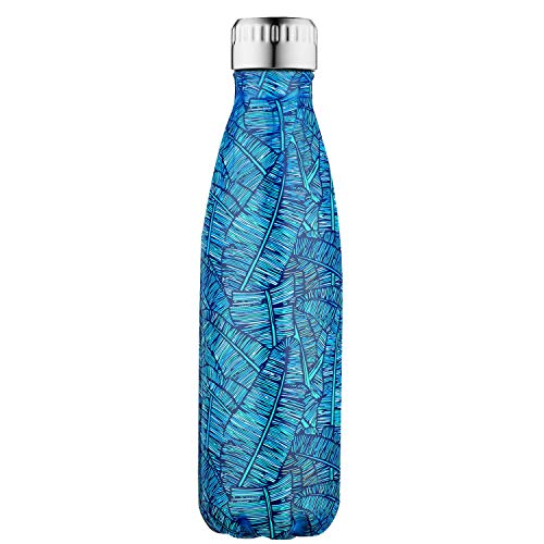SEPT MIRACLE Sept miracolo tenere caldo e freddo in acciaio INOX colorato Water Bottle thermos ermetica doppia parete tazze di sport (500 ml) (Blue palma plus)