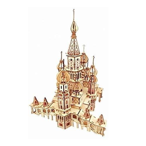 QXF-D 3D Holz Castle Puzzle, Puppenhaus Miniatur-Rahmenpuzzle Modell for Kinder für Erwachsene Jugendliche und Kinder
