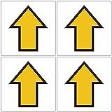 「四角・黄色矢印」 床や路面に直接貼れる 路面表示ステッカー 各100X100mm 4枚組