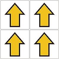 四角・黄色矢印 路面や壁面に直接貼れる 路面表示ステッカー 各100X100mm 4枚組