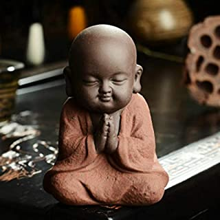 Office Decoration Buddha Statues&Sculptures - Buddha Statues Small Monk Color Sand Ceramic Home Club geomantic Decoration Purple Sand Figurines Tea Pet 1 PCs